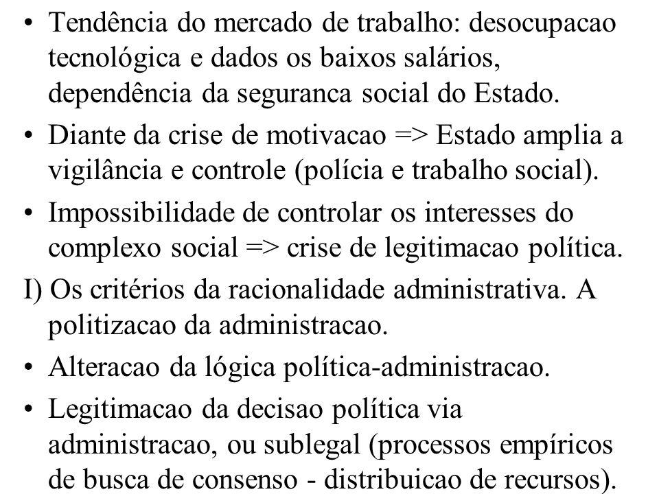 Tendência do mercado de trabalho: desocupacao tecnológica e dados os baixos salários, dependência da seguranca social do Estado. Diante da crise de mo