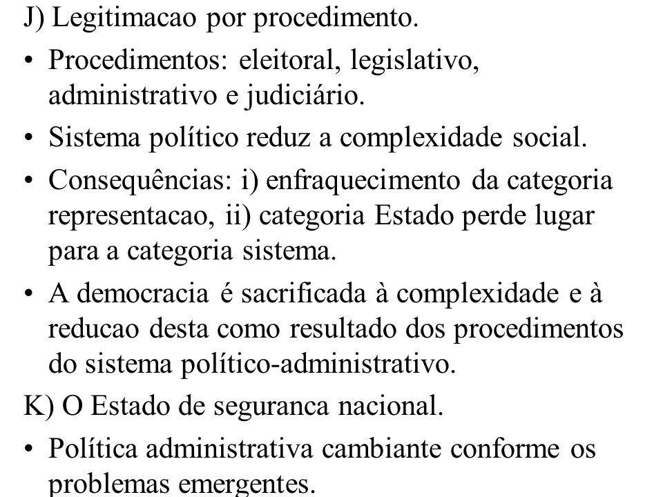 J) Legitimacao por procedimento. Procedimentos: eleitoral, legislativo, administrativo e judiciário. Sistema político reduz a complexidade social. Con