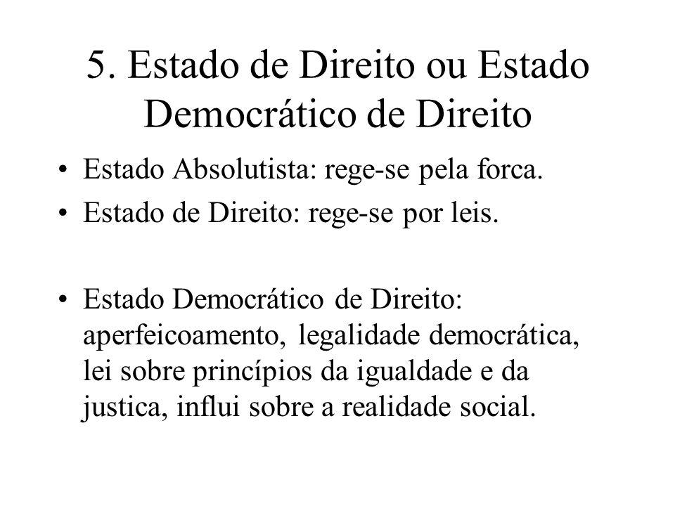5. Estado de Direito ou Estado Democrático de Direito Estado Absolutista: rege-se pela forca. Estado de Direito: rege-se por leis. Estado Democrático