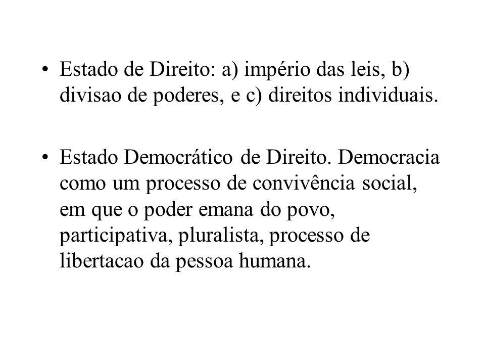 Estado de Direito: a) império das leis, b) divisao de poderes, e c) direitos individuais. Estado Democrático de Direito. Democracia como um processo d
