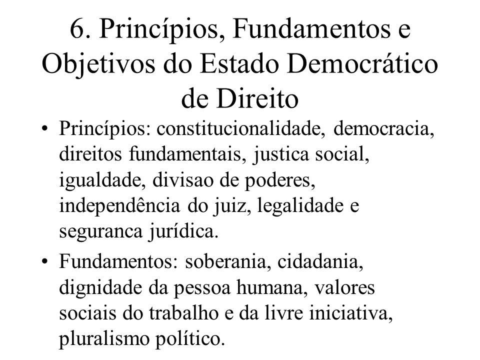 6. Princípios, Fundamentos e Objetivos do Estado Democrático de Direito Princípios: constitucionalidade, democracia, direitos fundamentais, justica so