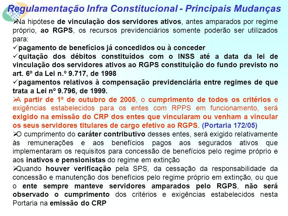 Regulamentação Infra Constitucional - Principais Mudanças Na hipótese de vinculação dos servidores ativos, antes amparados por regime próprio, ao RGPS