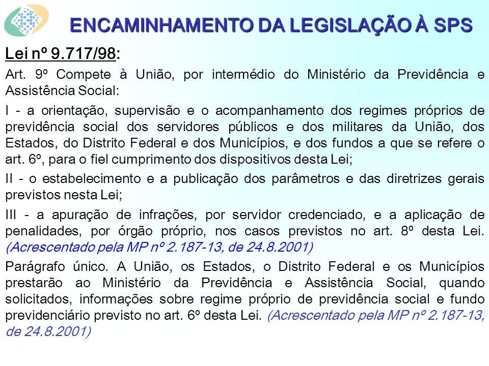 ENCAMINHAMENTO DA LEGISLAÇÃO À SPS Lei nº 9.717/98: Art. 9º Compete à União, por intermédio do Ministério da Previdência e Assistência Social: I - a o