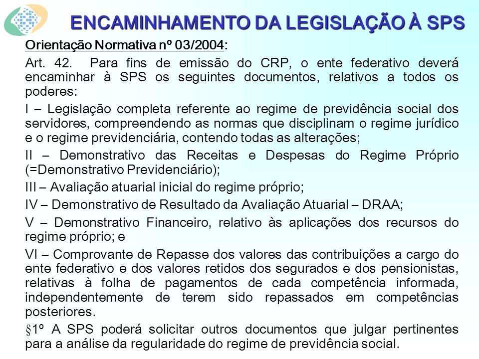 ENCAMINHAMENTO DA LEGISLAÇÃO À SPS Orientação Normativa nº 03/2004: Art. 42. Para fins de emissão do CRP, o ente federativo deverá encaminhar à SPS os