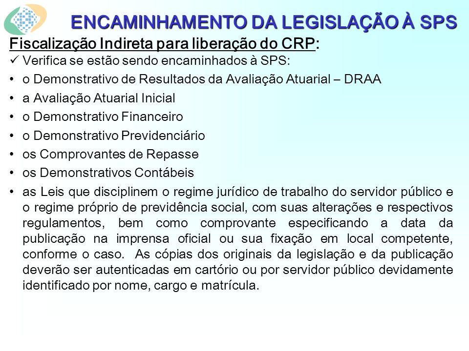 ENCAMINHAMENTO DA LEGISLAÇÃO À SPS Fiscalização Indireta para liberação do CRP: Verifica se estão sendo encaminhados à SPS: o Demonstrativo de Resulta