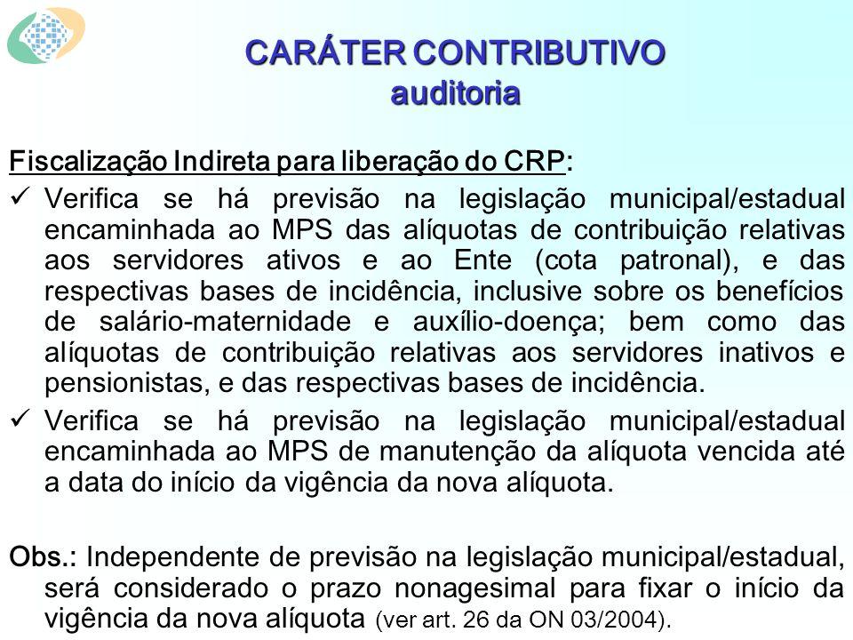 CARÁTER CONTRIBUTIVO auditoria Fiscalização Indireta para liberação do CRP: Verifica se há previsão na legislação municipal/estadual encaminhada ao MP