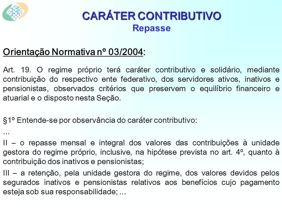 CARÁTER CONTRIBUTIVO CARÁTER CONTRIBUTIVO Repasse Orientação Normativa nº 03/2004: Art. 19. O regime próprio terá caráter contributivo e solidário, me