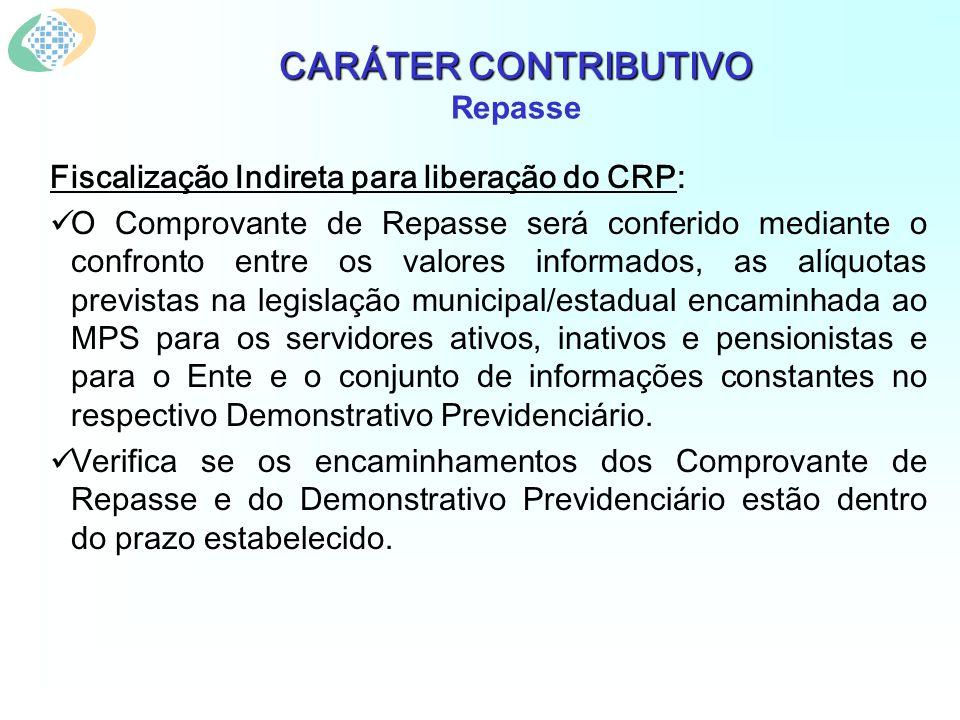 CARÁTER CONTRIBUTIVO CARÁTER CONTRIBUTIVO Repasse Fiscalização Indireta para liberação do CRP: O Comprovante de Repasse será conferido mediante o conf
