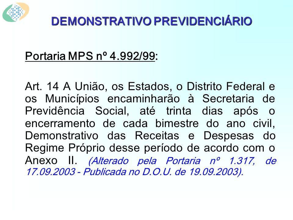 DEMONSTRATIVO PREVIDENCIÁRIO Portaria MPS nº 4.992/99: Art. 14 A União, os Estados, o Distrito Federal e os Municípios encaminharão à Secretaria de Pr