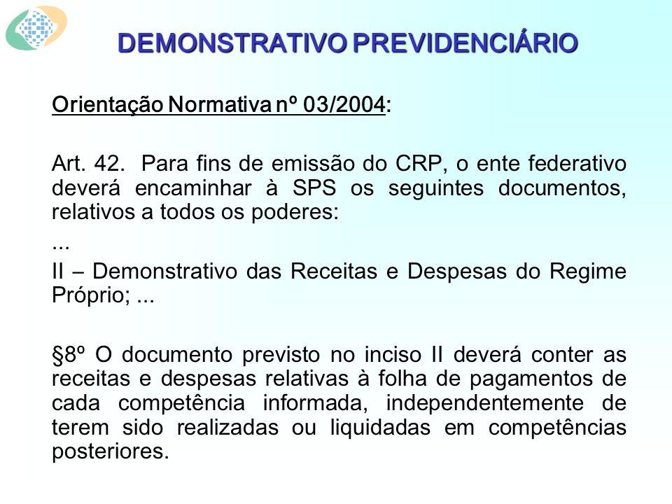 DEMONSTRATIVO PREVIDENCIÁRIO Orientação Normativa nº 03/2004: Art. 42. Para fins de emissão do CRP, o ente federativo deverá encaminhar à SPS os segui