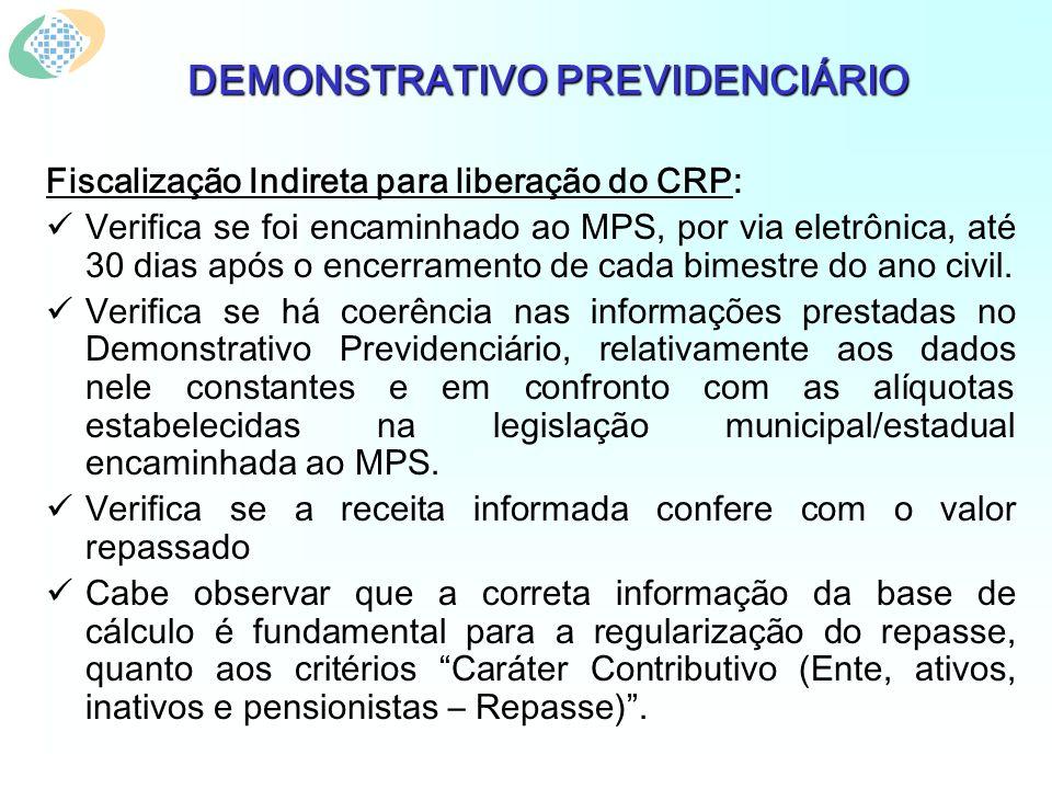 DEMONSTRATIVO PREVIDENCIÁRIO Fiscalização Indireta para liberação do CRP: Verifica se foi encaminhado ao MPS, por via eletrônica, até 30 dias após o encerramento de cada bimestre do ano civil.
