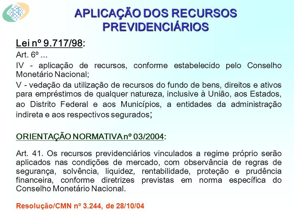 APLICAÇÃO DOS RECURSOS PREVIDENCIÁRIOS Lei nº 9.717/98: Art. 6º... IV - aplicação de recursos, conforme estabelecido pelo Conselho Monetário Nacional;