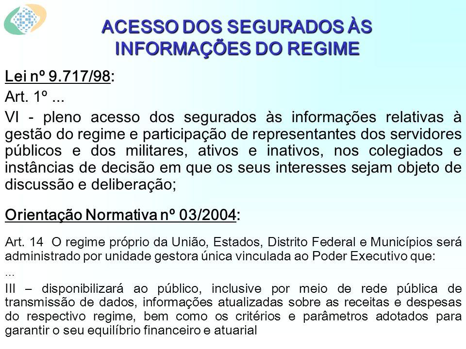 ACESSO DOS SEGURADOS ÀS INFORMAÇÕES DO REGIME Lei nº 9.717/98: Art.