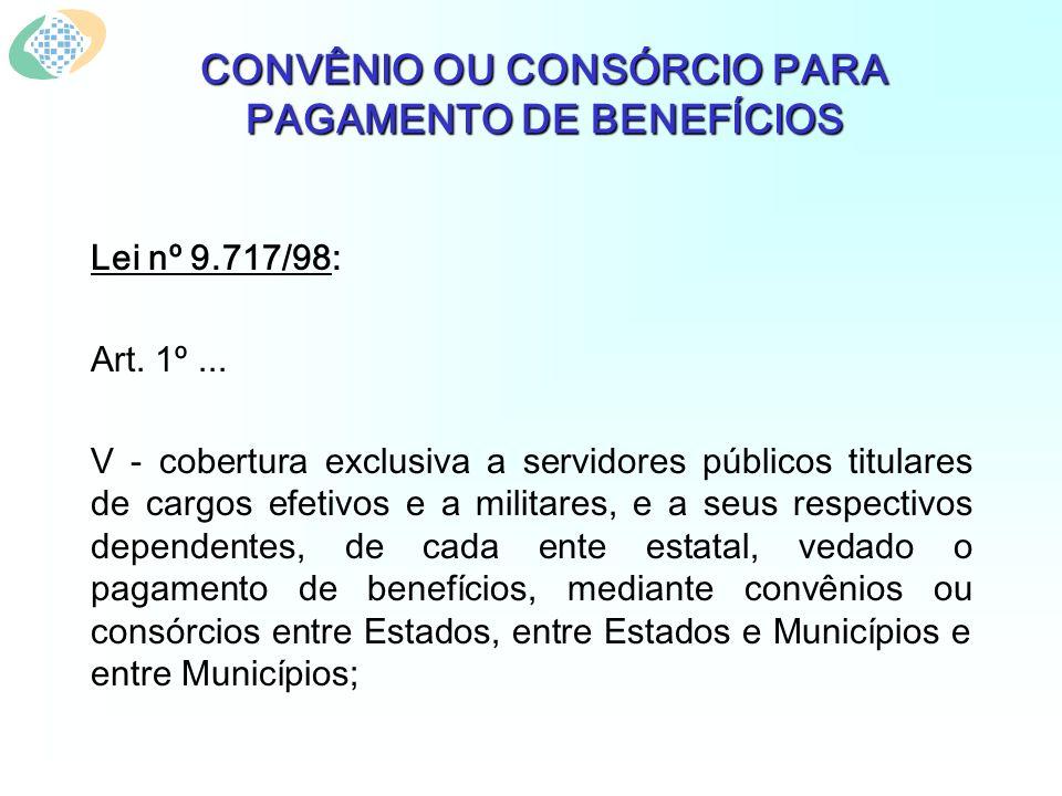 CONVÊNIO OU CONSÓRCIO PARA PAGAMENTO DE BENEFÍCIOS Lei nº 9.717/98: Art. 1º... V - cobertura exclusiva a servidores públicos titulares de cargos efeti