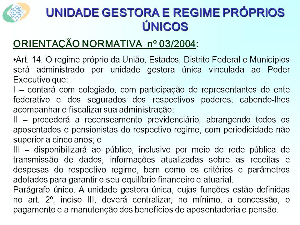 UNIDADE GESTORA E REGIME PRÓPRIOS ÚNICOS ORIENTAÇÃO NORMATIVA nº 03/2004: Art.