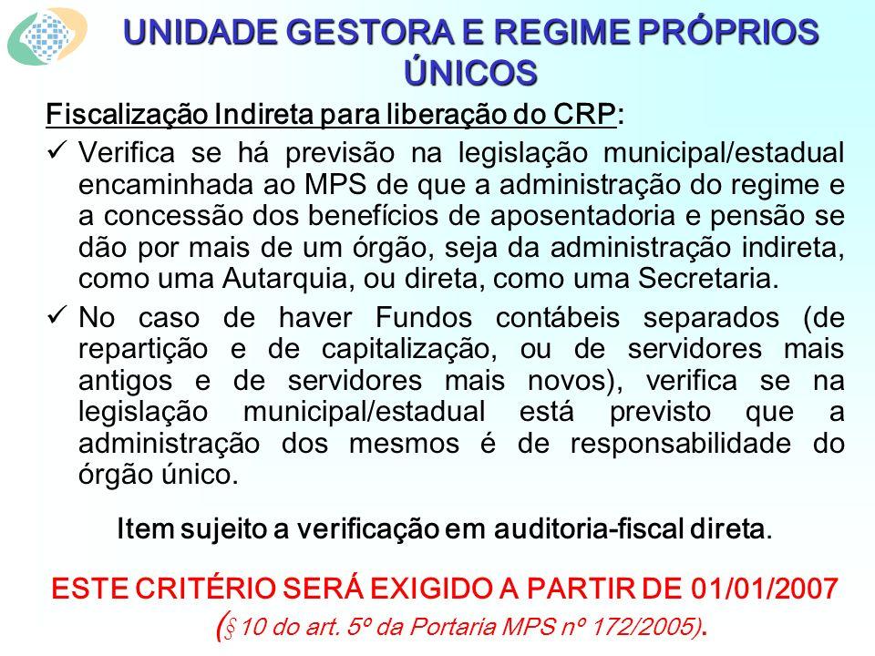 UNIDADE GESTORA E REGIME PRÓPRIOS ÚNICOS Fiscalização Indireta para liberação do CRP: Verifica se há previsão na legislação municipal/estadual encamin