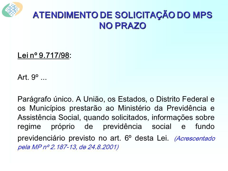 ATENDIMENTO DE SOLICITAÇÃO DO MPS NO PRAZO Lei nº 9.717/98: Art.