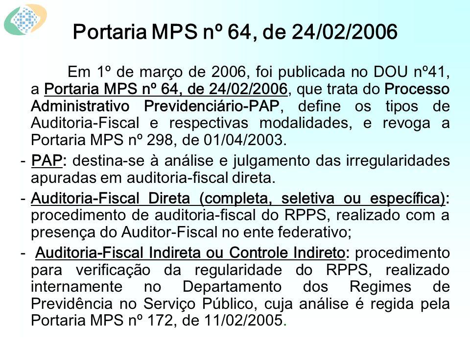 Portaria MPS nº 64, de 24/02/2006 Em 1º de março de 2006, foi publicada no DOU nº41, a Portaria MPS nº 64, de 24/02/2006, que trata do Processo Administrativo Previdenciário-PAP, define os tipos de Auditoria-Fiscal e respectivas modalidades, e revoga a Portaria MPS nº 298, de 01/04/2003.