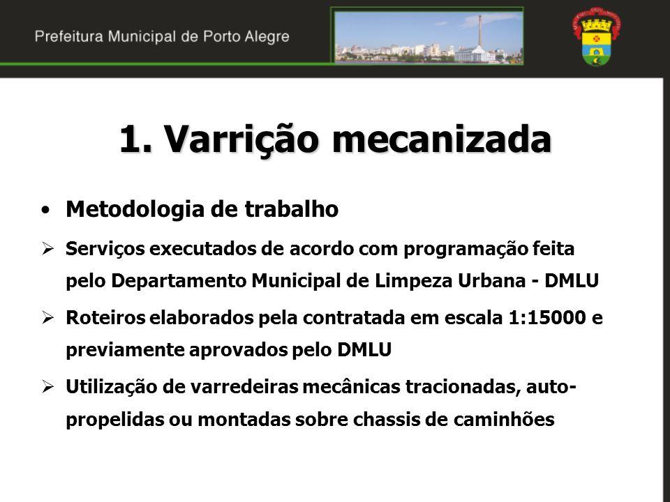 1. Varrição mecanizada Metodologia de trabalho Serviços executados de acordo com programação feita pelo Departamento Municipal de Limpeza Urbana - DML