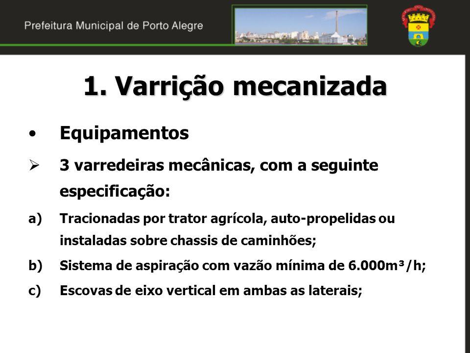 1. Varrição mecanizada Equipamentos 3 varredeiras mecânicas, com a seguinte especificação: a)Tracionadas por trator agrícola, auto-propelidas ou insta