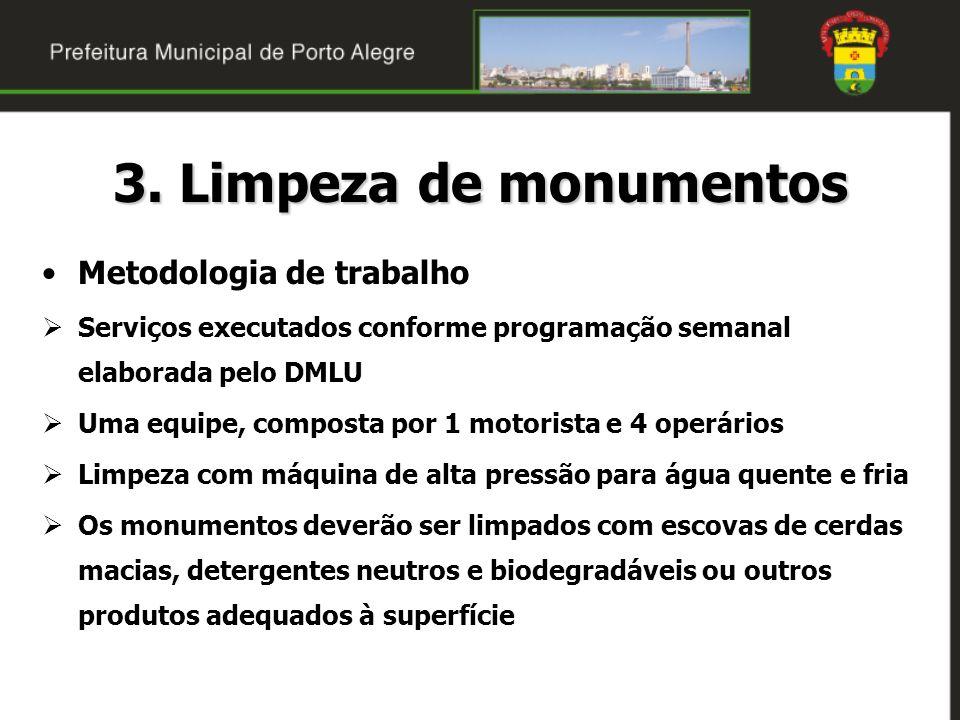 3. Limpeza de monumentos Metodologia de trabalho Serviços executados conforme programação semanal elaborada pelo DMLU Uma equipe, composta por 1 motor