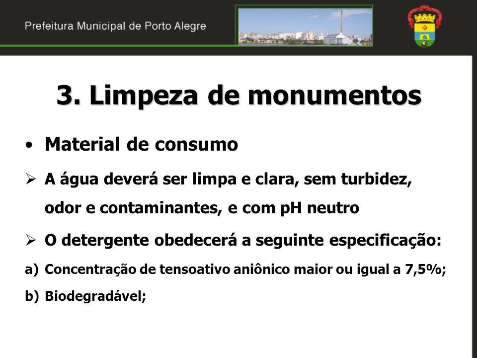 3. Limpeza de monumentos Material de consumo A água deverá ser limpa e clara, sem turbidez, odor e contaminantes, e com pH neutro O detergente obedece