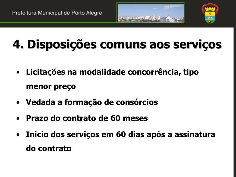 4. Disposições comuns aos serviços Licitações na modalidade concorrência, tipo menor preço Vedada a formação de consórcios Prazo do contrato de 60 mes