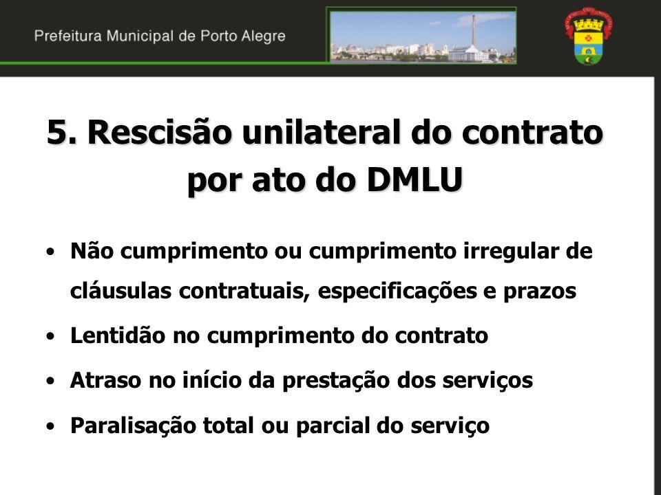 5. Rescisão unilateral do contrato por ato do DMLU Não cumprimento ou cumprimento irregular de cláusulas contratuais, especificações e prazos Lentidão