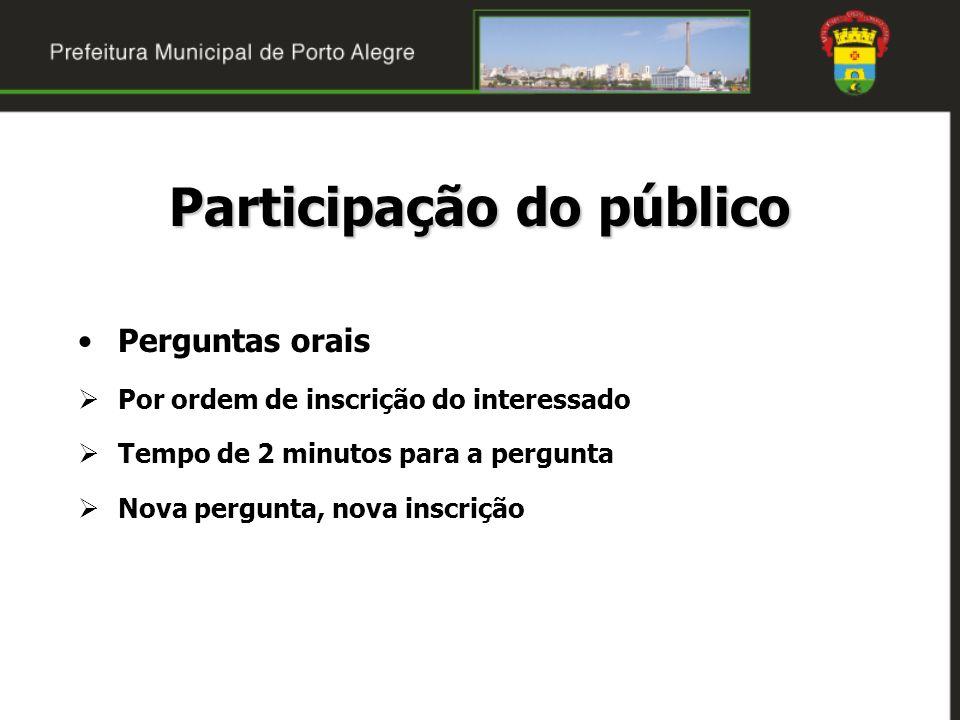 Participação do público Perguntas orais Por ordem de inscrição do interessado Tempo de 2 minutos para a pergunta Nova pergunta, nova inscrição