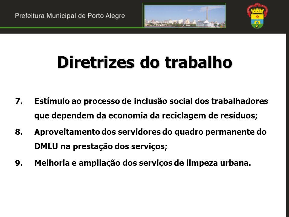 7.Estímulo ao processo de inclusão social dos trabalhadores que dependem da economia da reciclagem de resíduos; 8.Aproveitamento dos servidores do qua
