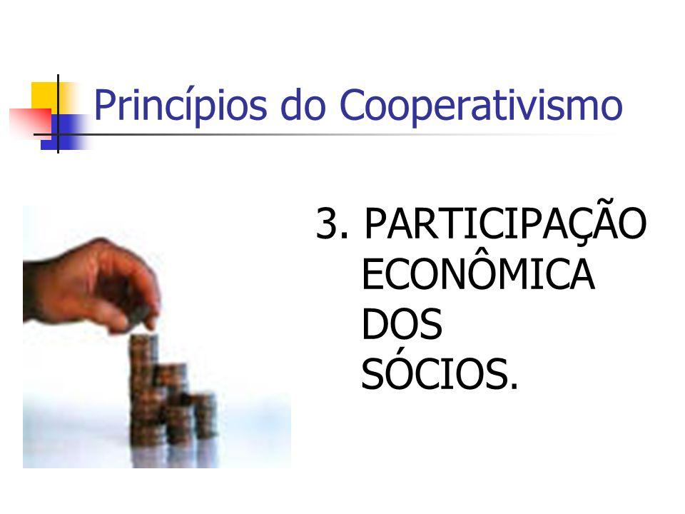 Princípios do Cooperativismo 3. PARTICIPAÇÃO ECONÔMICA DOS SÓCIOS.