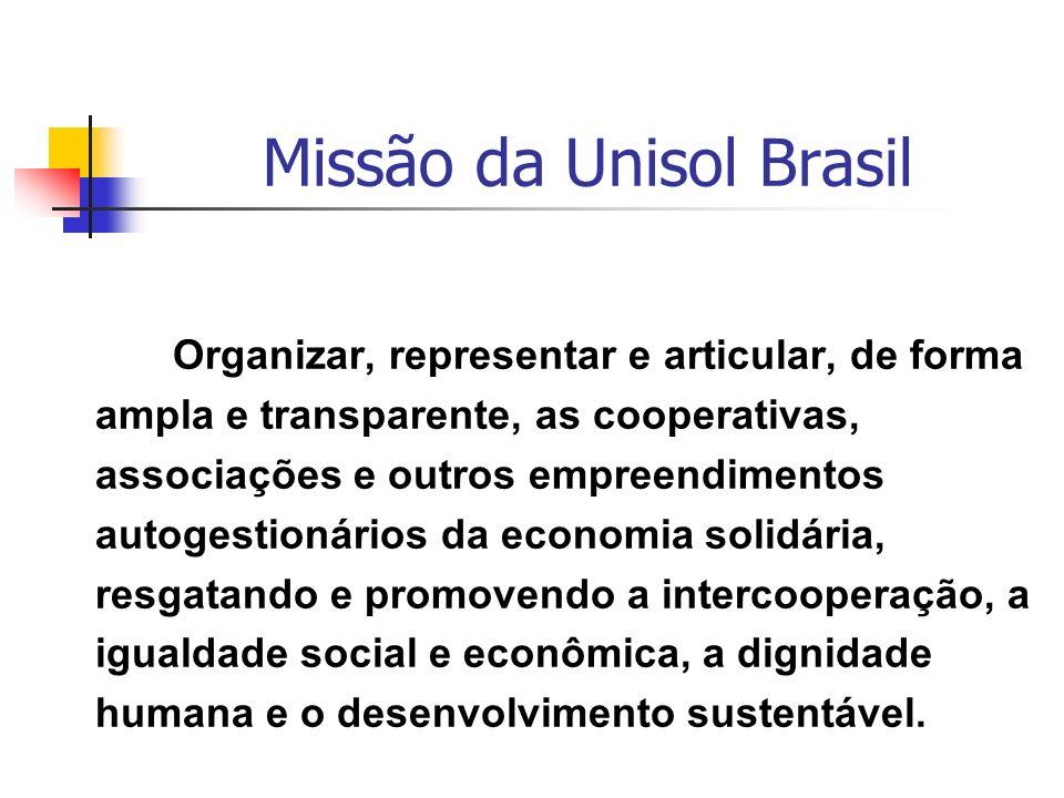Missão da Unisol Brasil Organizar, representar e articular, de forma ampla e transparente, as cooperativas, associações e outros empreendimentos autog
