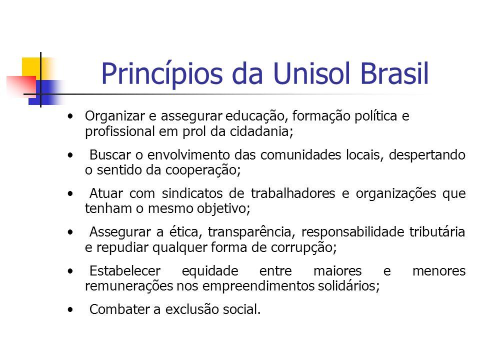 Princípios da Unisol Brasil Organizar e assegurar educação, formação política e profissional em prol da cidadania; Buscar o envolvimento das comunidad