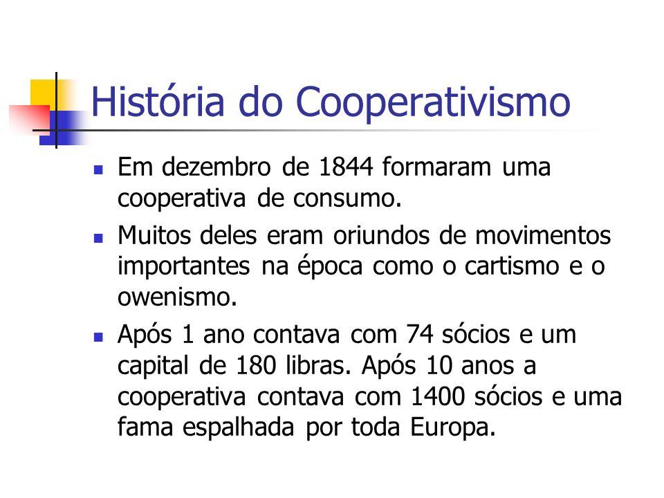 História do Cooperativismo Em dezembro de 1844 formaram uma cooperativa de consumo. Muitos deles eram oriundos de movimentos importantes na época como