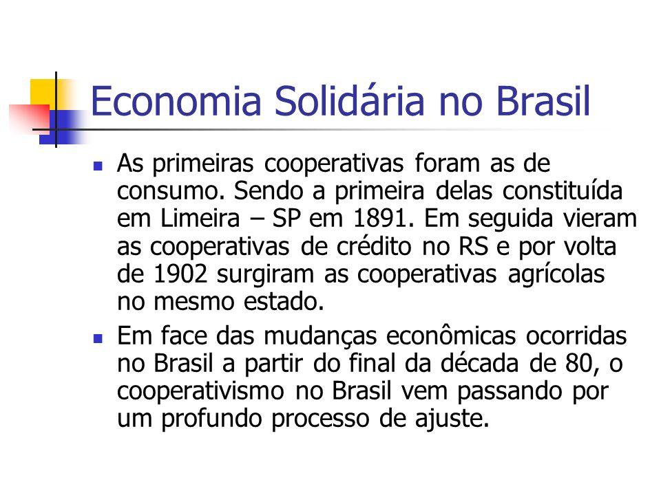 Economia Solidária no Brasil As primeiras cooperativas foram as de consumo. Sendo a primeira delas constituída em Limeira – SP em 1891. Em seguida vie