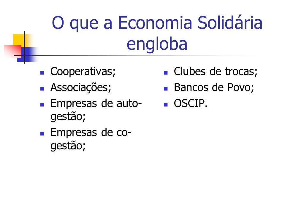 O que a Economia Solidária engloba Cooperativas; Associações; Empresas de auto- gestão; Empresas de co- gestão; Clubes de trocas; Bancos de Povo; OSCI
