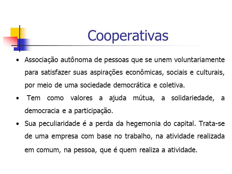 Cooperativas Associação autônoma de pessoas que se unem voluntariamente para satisfazer suas aspirações econômicas, sociais e culturais, por meio de u