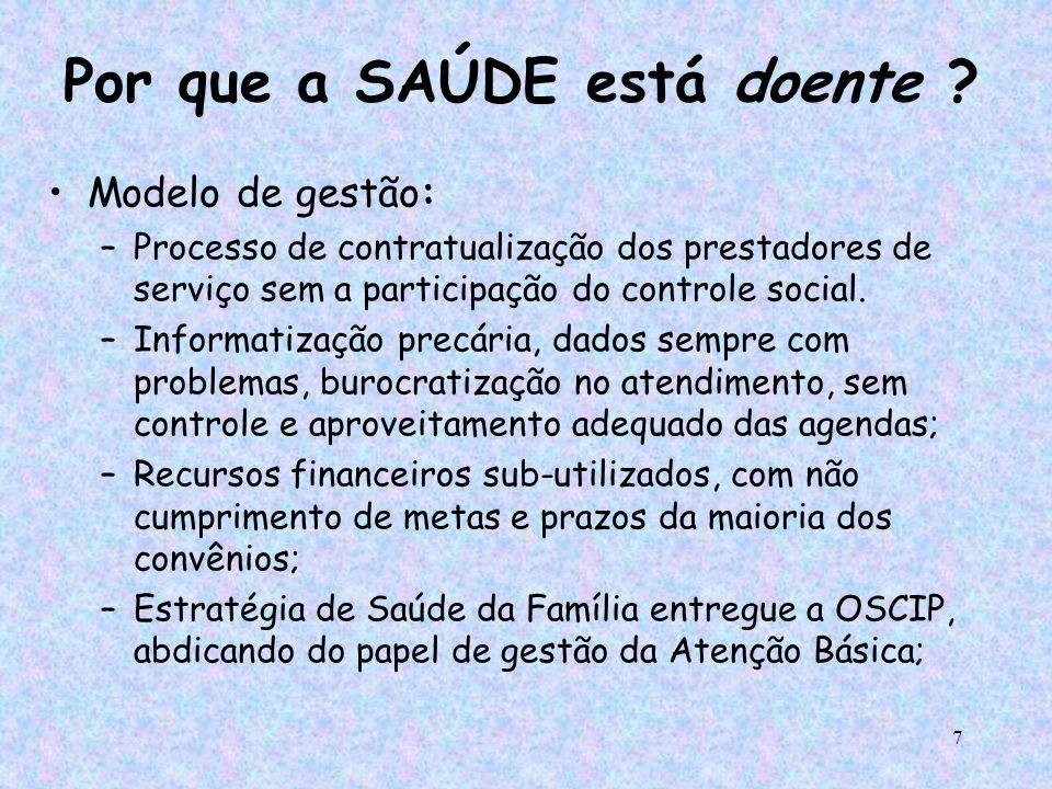 7 Por que a SAÚDE está doente ? Modelo de gestão: –Processo de contratualização dos prestadores de serviço sem a participação do controle social. –Inf
