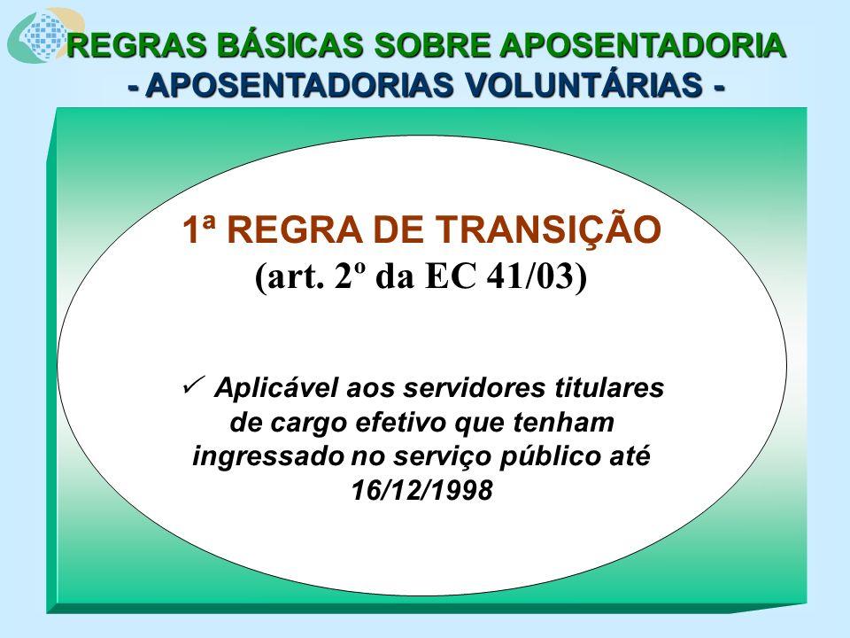REGRAS BÁSICAS SOBRE APOSENTADORIA - APOSENTADORIAS VOLUNTÁRIAS - 1ª REGRA DE TRANSIÇÃO (art.