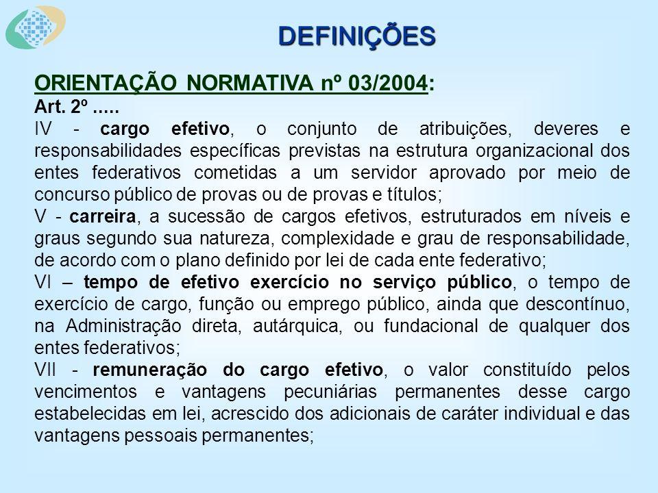 DEFINIÇÕES ORIENTAÇÃO NORMATIVA nº 03/2004: Art. 2º.....