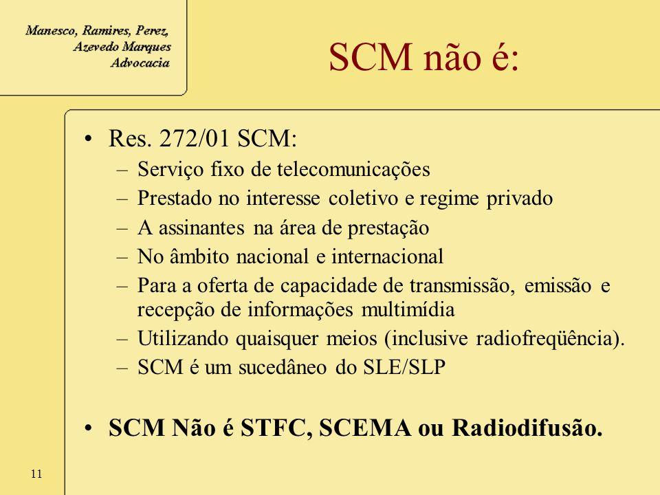 11 SCM não é: Res. 272/01 SCM: –Serviço fixo de telecomunicações –Prestado no interesse coletivo e regime privado –A assinantes na área de prestação –