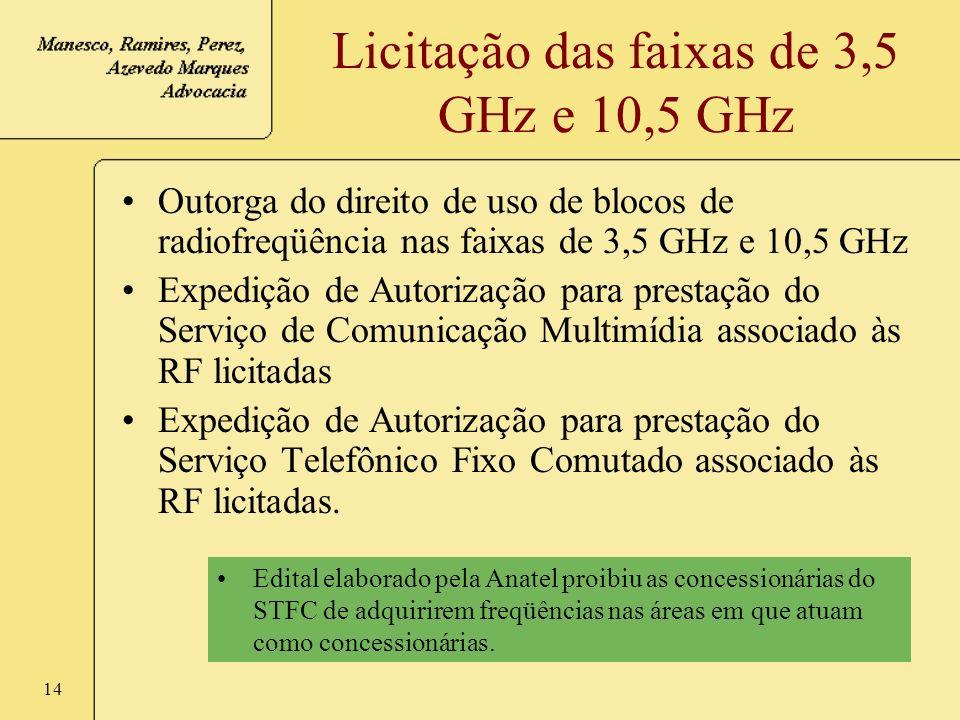 14 Licitação das faixas de 3,5 GHz e 10,5 GHz Outorga do direito de uso de blocos de radiofreqüência nas faixas de 3,5 GHz e 10,5 GHz Expedição de Aut