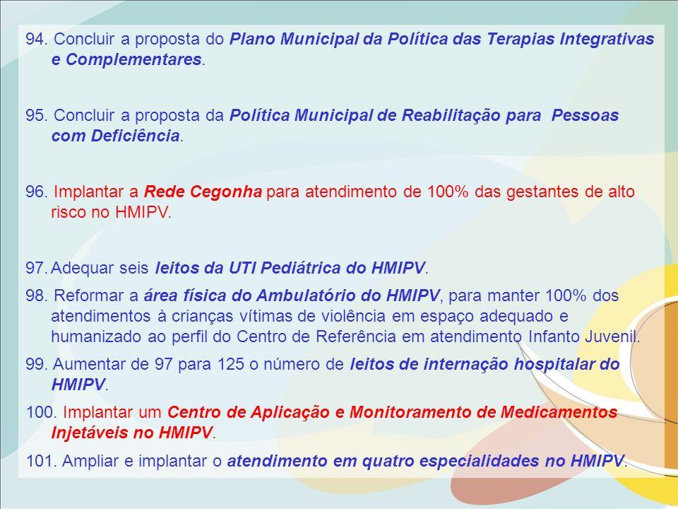 94. Concluir a proposta do Plano Municipal da Política das Terapias Integrativas e Complementares. 95. Concluir a proposta da Política Municipal de Re