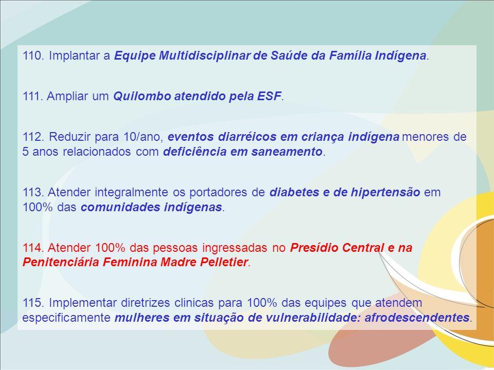 110. Implantar a Equipe Multidisciplinar de Saúde da Família Indígena. 111. Ampliar um Quilombo atendido pela ESF. 112. Reduzir para 10/ano, eventos d