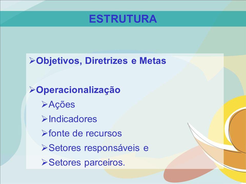 Objetivos, Diretrizes e Metas Operacionalização Ações Indicadores fonte de recursos Setores responsáveis e Setores parceiros. ESTRUTURA