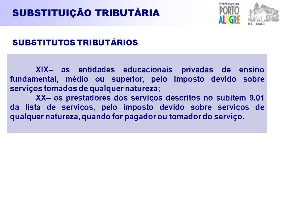 SUBSTITUIÇÃO TRIBUTÁRIA XIX– as entidades educacionais privadas de ensino fundamental, médio ou superior, pelo imposto devido sobre serviços tomados d