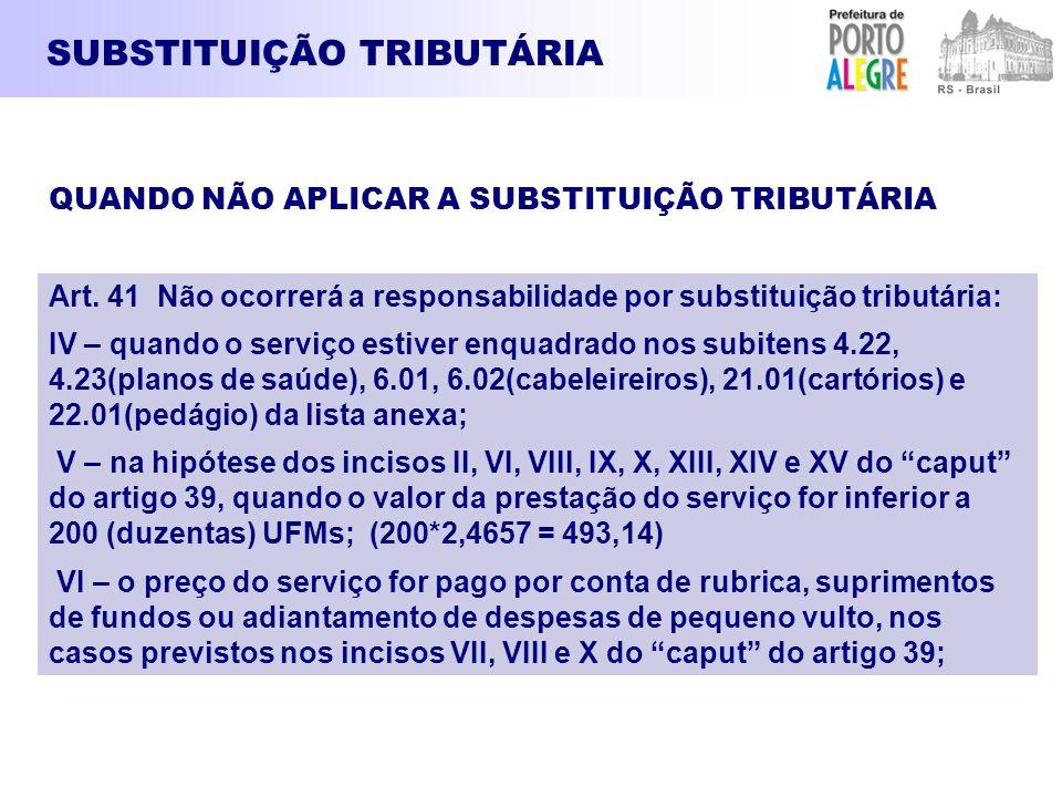 SUBSTITUIÇÃO TRIBUTÁRIA Art. 41 Não ocorrerá a responsabilidade por substituição tributária: IV – quando o serviço estiver enquadrado nos subitens 4.2
