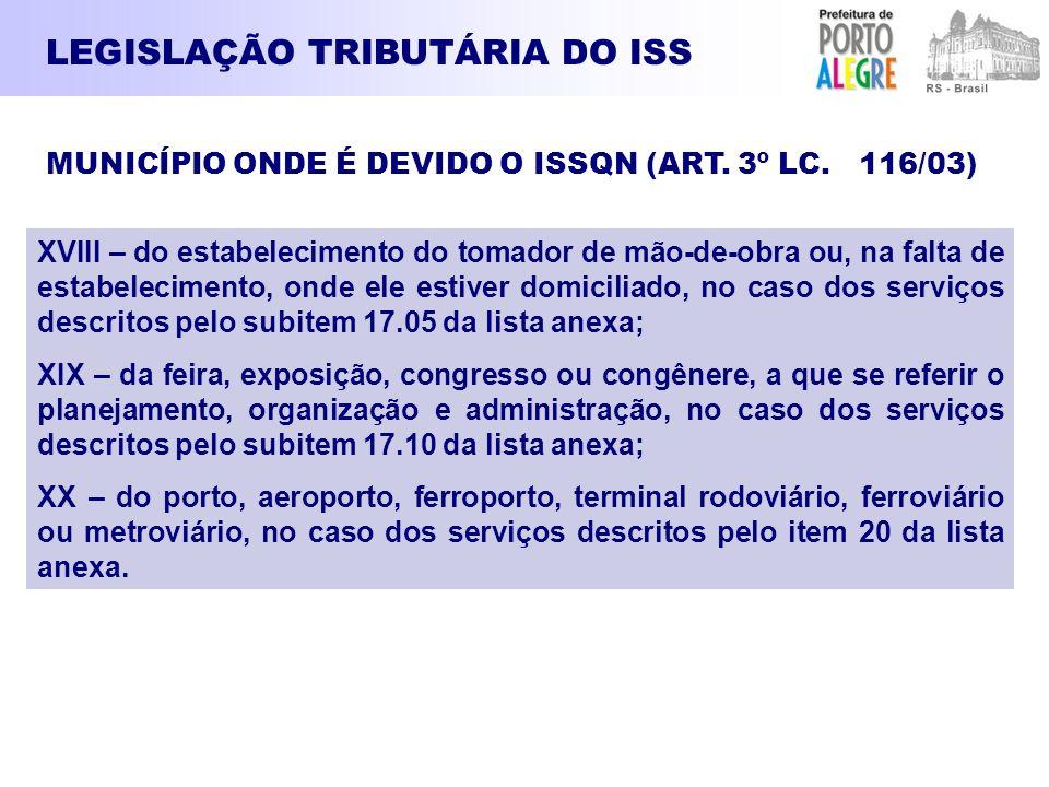 LEGISLAÇÃO TRIBUTÁRIA DO ISS XVIII – do estabelecimento do tomador de mão-de-obra ou, na falta de estabelecimento, onde ele estiver domiciliado, no ca