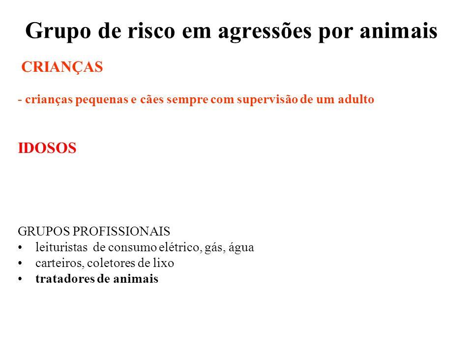 Grupo de risco em agressões por animais CRIANÇAS - crianças pequenas e cães sempre com supervisão de um adulto IDOSOS GRUPOS PROFISSIONAIS leituristas