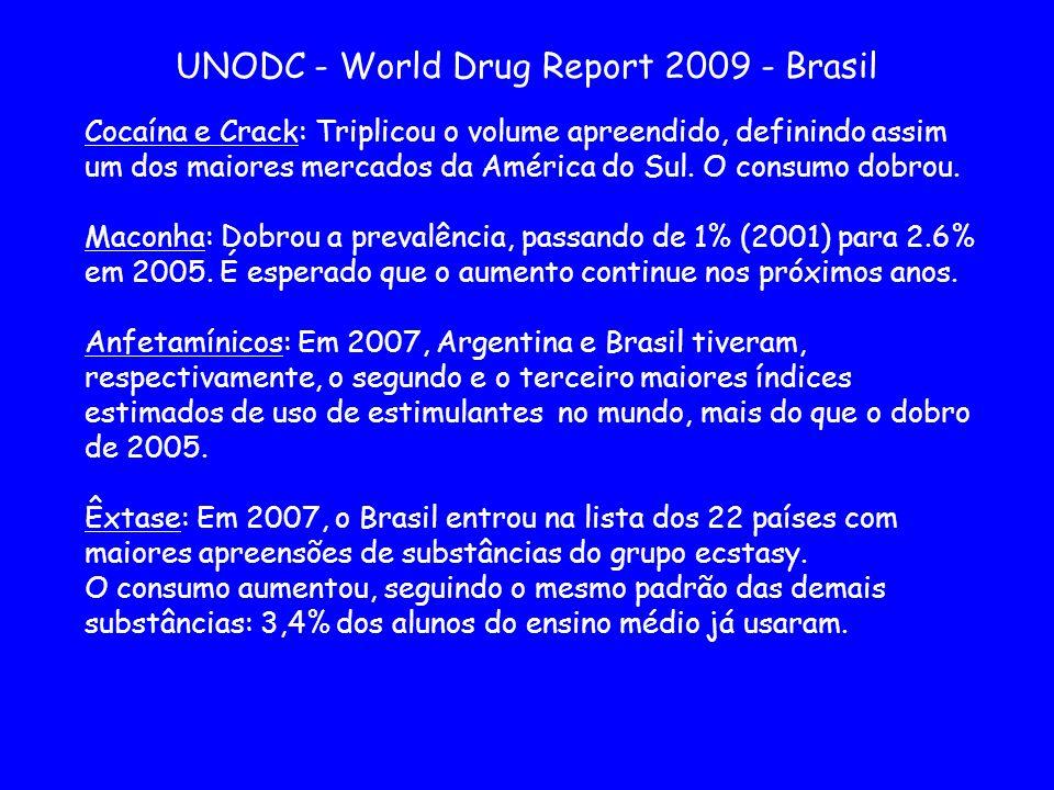 UNODC - World Drug Report 2009 - Brasil Cocaína e Crack: Triplicou o volume apreendido, definindo assim um dos maiores mercados da América do Sul. O c